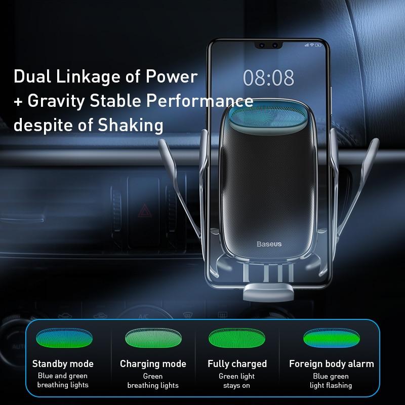 Baseus titular do telefone do carro 15w carregador sem fio para o iphone carga rápida 3.0 ventilação de ar montar titular do carro sem fio de carregamento titular 4