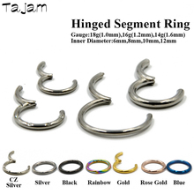 1PC G23 Titanium Segment Hinged Rings Septum Nose Clicker Piercing Lip Earrings Helix Nose Piercing Body Jewelry 18g&16g&14g 1pc g23 titanium surgical steel dermal anchor skin diver base surface piercing micro retainers hide it implants body jewelry 16g