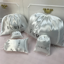 Smoothly Silk Hair Bags Cloth Shoes Jewelry Packaging Gift Wrappling Bright Satin Dust proof Drawstring Pouch Custom Logo Print