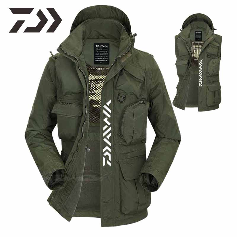 Daiwa Clothing Hooded Removable Sleeves Shirt Men's Fishing Vest Multi-pocket Fishing Jacket Winter Men Outdoor Clothing Fishing