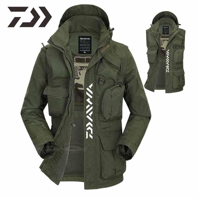nova daiwa com capuz mangas removiveis camisa na camisa masculina casual multi bolso jaqueta de pesca