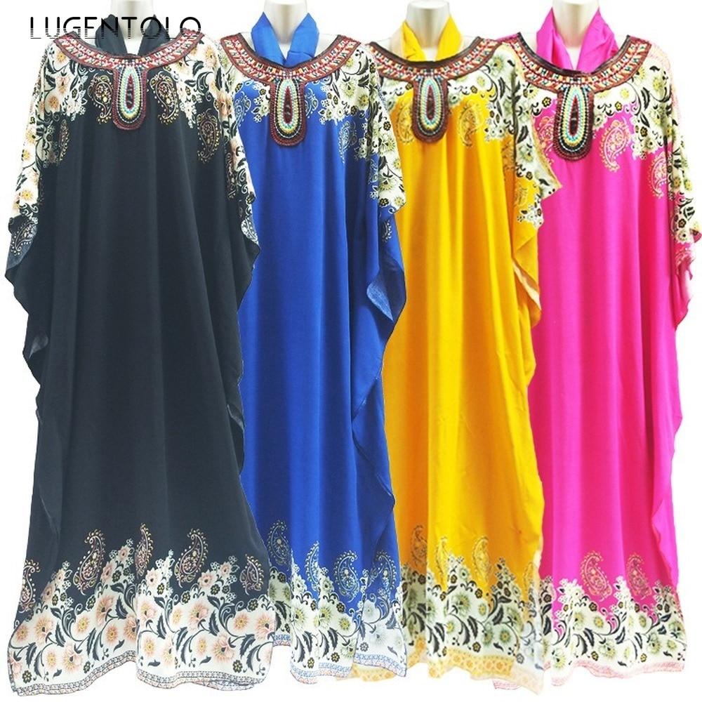 Lugentolo Maxi Dress Women Muslim Fashion Abaya Batwing Sleeve O-Neck Loose Print Summer New Womens Dresses