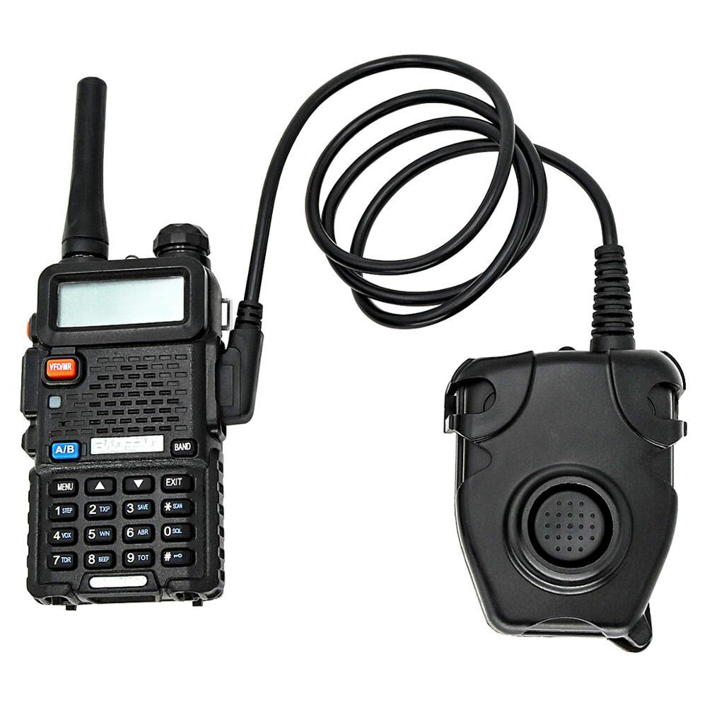 Купить с кэшбэком Tactical PTT PELTOR PTT hunting sports noise reduction shooting military tactical headset adapter 2 pin Kenwood plug Baofeng PTT