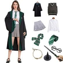 Yetişkin çocuk cadılar bayramı kostüm Hermione Granger kostüm Slytherin pelerin okul üniforması giysi sihirli elbise parti Cosplay