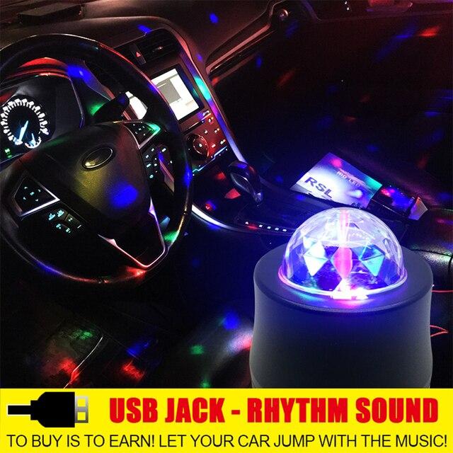רכב DJ מוסיקה אור USB מיני RGB LED מקרן מסיבת מנורת פנים אורות דיסקו קסם כדור שלב Strobe פלאש אוטומטי קישוט LED