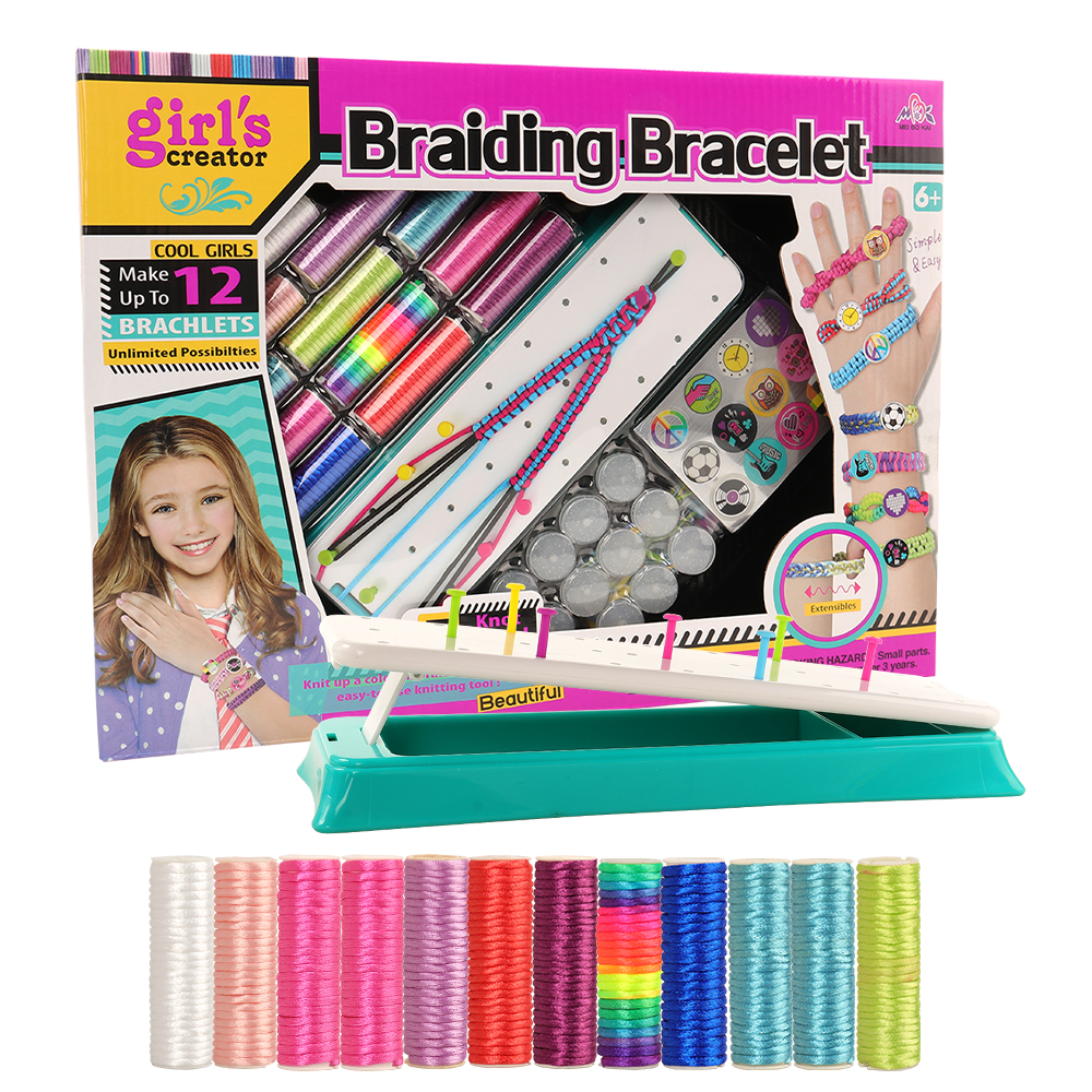 New Arrive Handmade Fashion Easy Toys For Girl Making Bracelets Kits Kids' Jewelry Making Kit Braiding Bracelet Maker DIY Toy