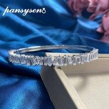 PANSYSEN classique 100% 925 en argent Sterling simulé Moissanite diamant pierres précieuses bracelets femmes bracelet cadeau de mariage en gros