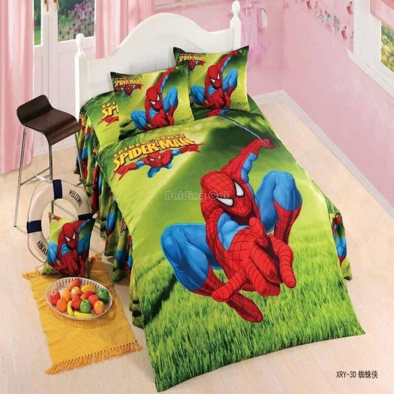 Spiderman Cartoon Character Bedding Set Children Kid Duvet Cover Set Bed Sheet Pillowcase 2/3/4pcs Student Dormitory Bedclothes
