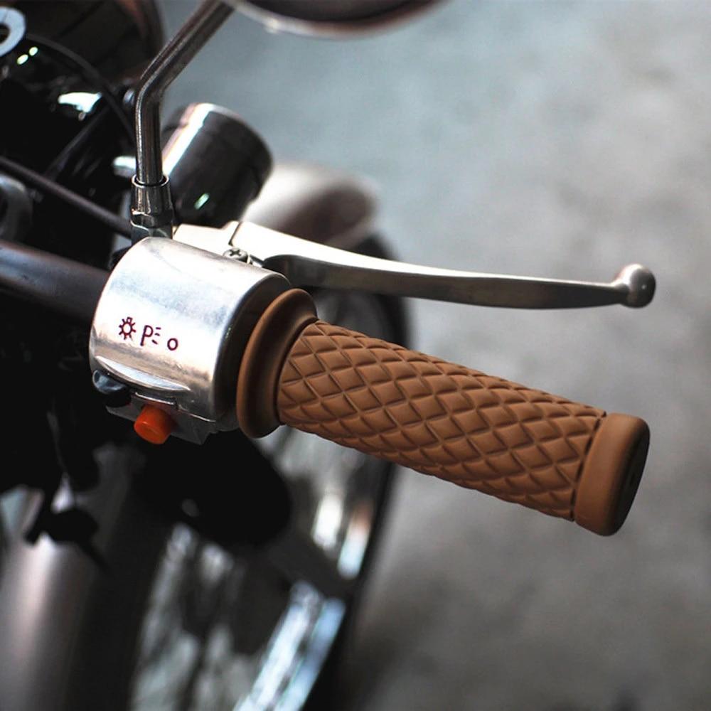 "2x 7//8/"" 22mm Rubber Handlebar Hand Grip Bar End For Motorcycle Bike Cafe Racer"