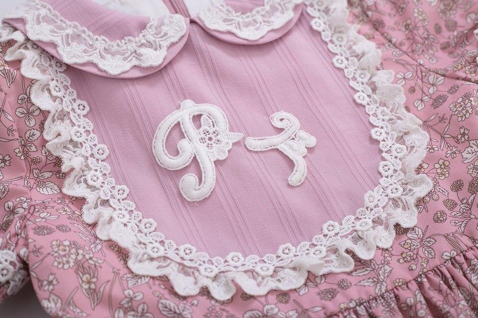 Image 4 - Pettigirl Wholesale Summer Flower Printed Dress Party Dress Doll Collar Raffle Sleeve Kids Boutique Dress +HeadwearDresses   -