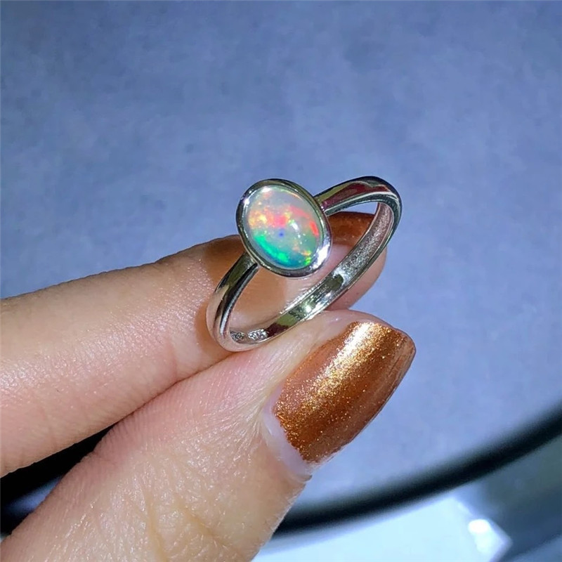 Promotion opal stone ring 1ct 5*7mm natural Australian opal gemstone silver ring solid 925 sterling silver opal ring for lady