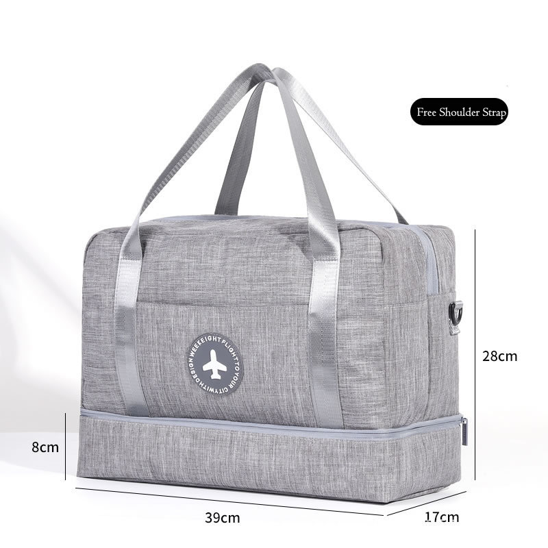 Hylhexyr водонепроницаемая обувь сумки большой емкости Оксфорд молния путешествия вещевой мешок одежды с разделителем для сухого и влажного сумки пакет для пляжа - Цвет: Серый