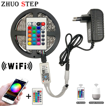 цена на 5M 2835 RGB WIFI LED Strip light Waterproof 10M 15M 5050 Led Ribbon Tape With WIFI Wireless Controller DC 12V Adapter Stripe Kit