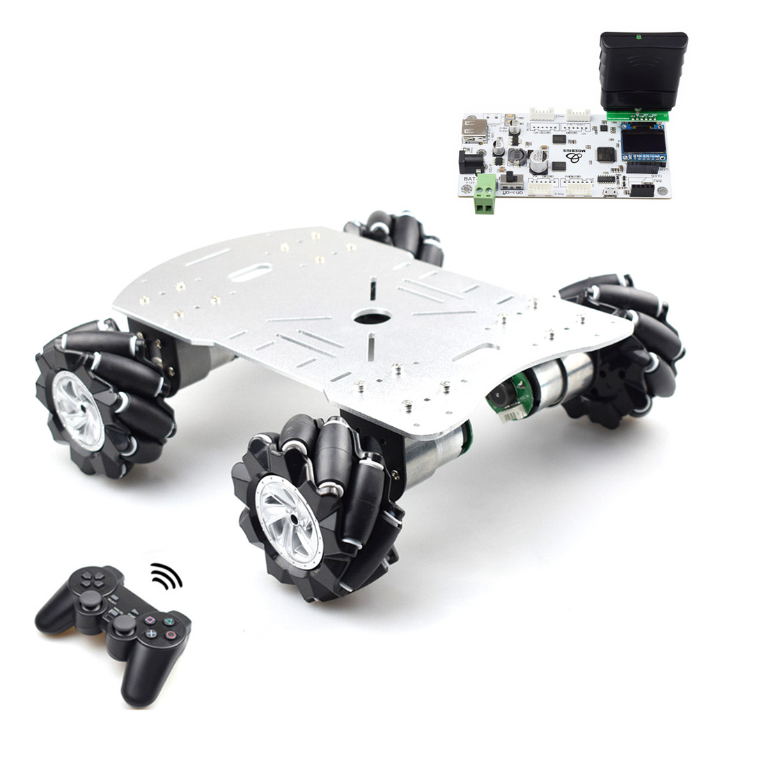 80mm Mecanum Metal Platform DIY Omni-Directional Mecanum Wheel Robot Car With STM32 Electronic Control (Without Power Supply)