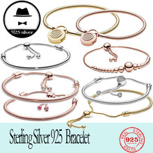 FIT original authentic 100% 925 sterling silver pan charm chain bracelet for women fashion classic luxury jewelry snake bracelet(China)