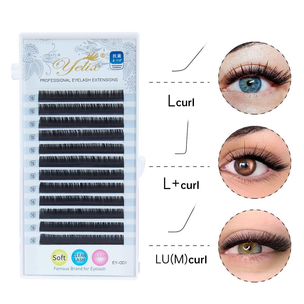 Yelix L Curl для наращивания 8-15 мм, весь ассортимент матовый норковые ресницы человека Расширение ресницы L +/LU/M Curl накладные ресницы для макияжа