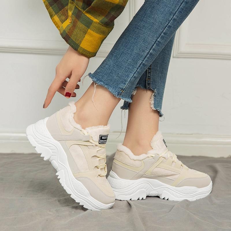 Image 4 - SWYIVY Platform Sneakers Women Shoes Winter Warm Flock Women Sneakers 2019 Casual Shoes Woman Med Heel Ladies Shoe BreathableWomens Vulcanize Shoes   -