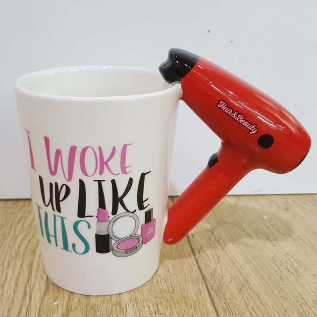 Creative Ceramic Mugs 3D Hand Painted Cup Girl Makeup Tools Beauty Kit Nail Handle Mug Travel Milk Tea Coffee Mug for Women Gift 1