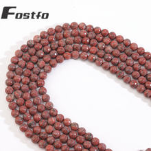 Fostfo красные яшмы из натурального кунжута граненые круглые