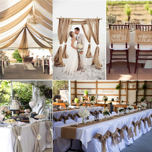 Image 5 - 1pcs Natural Hessian Jute Burlap Table Runner   Wedding Stand Arch Chair Sashes Decoration Birthday Banquet Event Party Supply