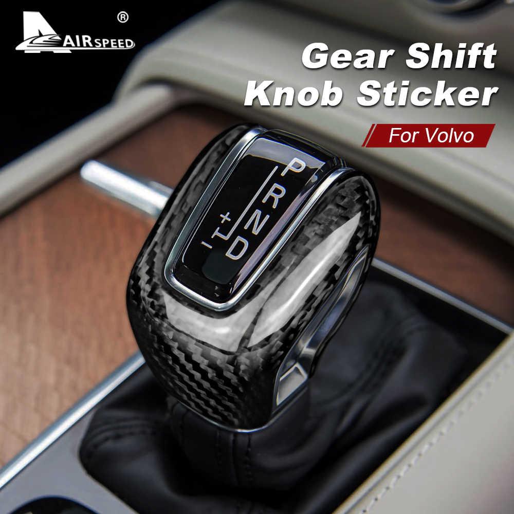 Real CARBON FIBER Gear SHIFT KNOB TRIM For Volvo S90 S60 V60 XC60 2018 2019 2020