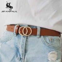 Jifanpaul couro genuíno feminino liga duplo anel fivela moda cinto ajustável retro punk senhoras vestido jeans estudante cintos