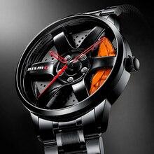 NIBOSI Car Wheel Rim Hub Mens Watches Hollow Dial Super Car Rim Hub Watch Stainless Steel Waterproof Wholesale Watch For Car GTR