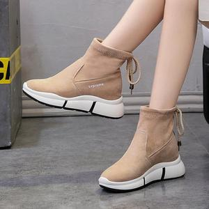 Image 1 - SWYIVY נשים מגפי 2019 סתיו חדש נשים נעליים יומיומיות סטודנטים מרטין אתחול פלטפורמת שטוח קרסול מגפי נקבה שחור להחליק על צאן