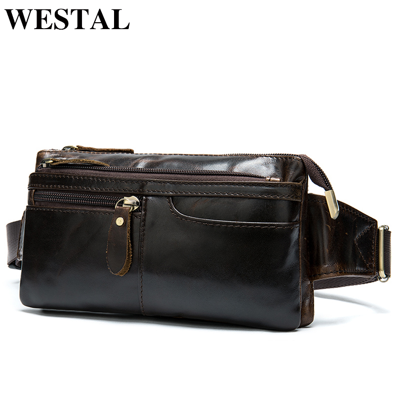 WESTAL Bag Belt Men Genuine Leather Travel Bag Men's Waist Bag Fanny Pack Cangurera Para La Cintura Hip Bag Money Belt 8943