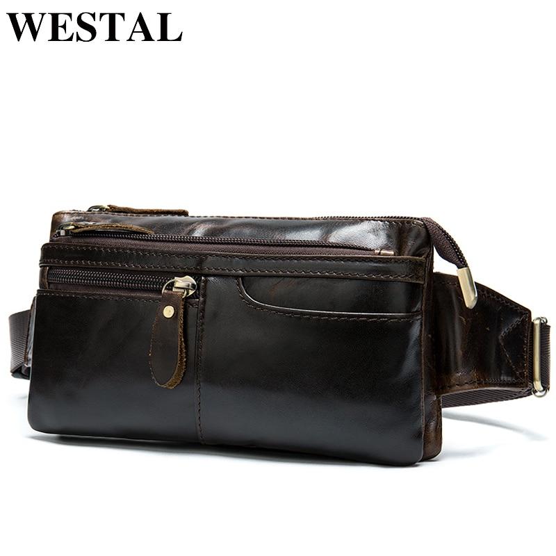 WESTAL sac ceinture hommes en cuir véritable sac de voyage hommes taille sac fanny pack cangurera para la cintura hanche sac argent ceinture 8943