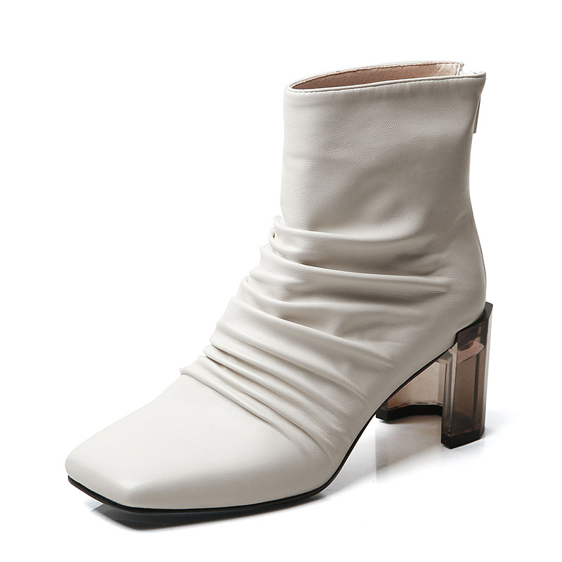 New Ankle Boots for Women Square Toe High Heels Women Shoes Warm Short Plush Ladies Winter Boots Zipper Female Western Boots