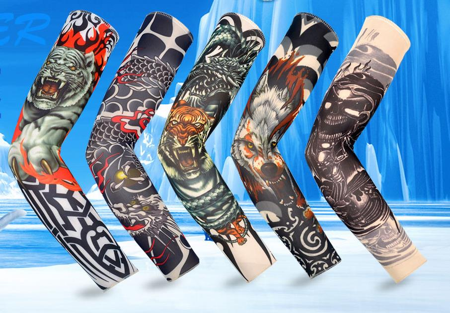 Simulated Tattoo Sleeve(seamed), Flower Arm Tattoo Sunscreen Sleeve Outdoor Exercise Riding Arm Warmers