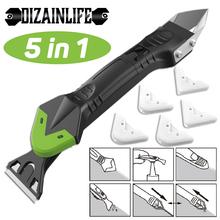 5 in1 Silicone Remover Sealant Smooth Scraper Caulk Finisher zestaw narzędzi do usuwania podłóg zestaw narzędzi ręcznych akcesoria tanie tanio CN (pochodzenie) Ekologiczne Na stanie 105986 Stainless Steel Okno