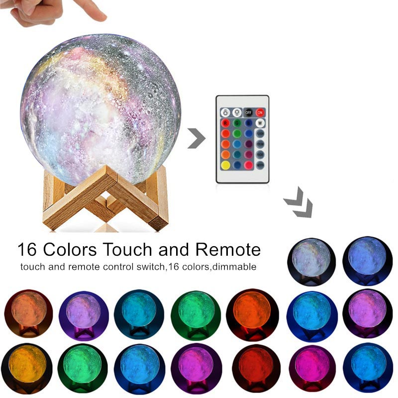 8cm / 15cm USB 3D Print Star Moon Novetly Lamp Colorful Change Touch LED Night Light Galaxy Lamp Home Decor Creative Gift