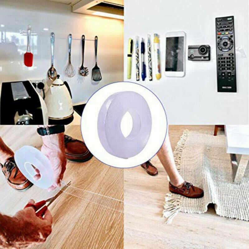 Nano-free magic tape tape anti-slip fixed adhesive Washable Double-sided reusable stickers Adhesive Tape