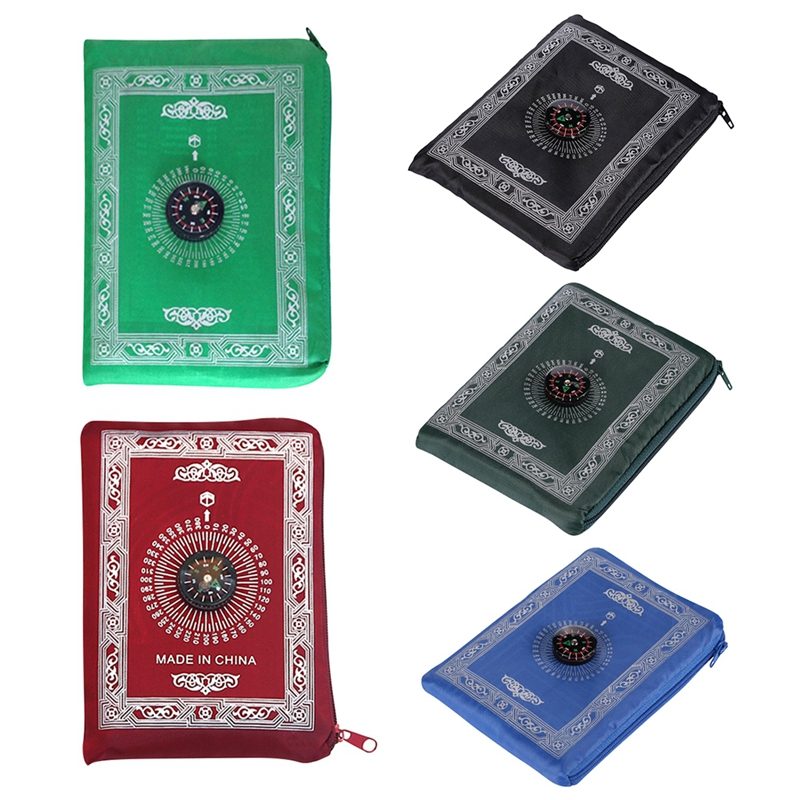 Image 4 - Muslim Prayer Rug Polyester Portable Braided Mats Simply Print  with Compass In Pouch Travel Home New Style Mat BlanketRug   -