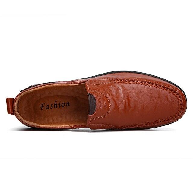 Mocassins pour hommes en cuir de vache cousus à la main chaussures de conduite décontractées à enfiler confortable fond souple grande taille 38-47 livraison directe du fournisseur