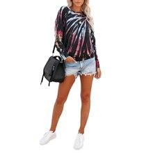 Женская футболка с принтом tie dye Свободный пуловер в повседневном