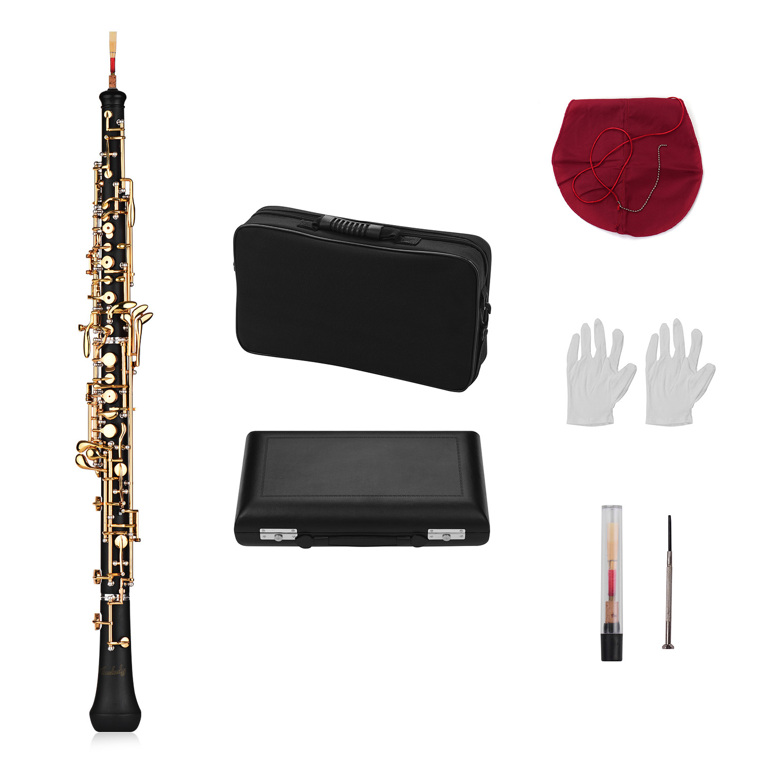 Professional Oboe C Key Semi-automatic Style Nickel-plated Keys Woodwind Instrument with Oboe Reed Gloves Leather Case Carry Bag