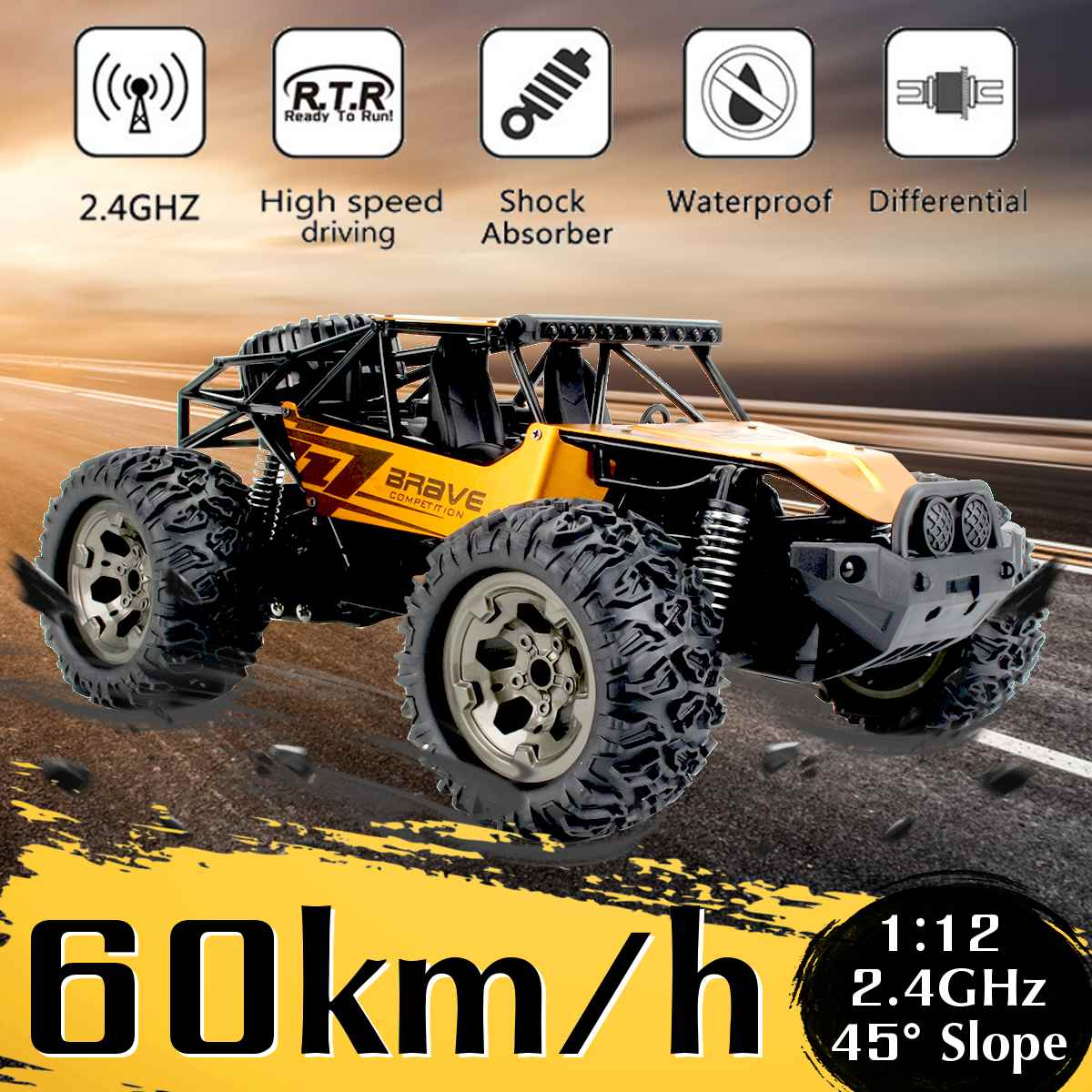1:12 60Km/h RC Remote Control Off Road Cars Vehicle 2.4Ghz Crawlers Electric Monster RC car Toy for Children Gift