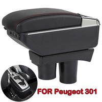 For Peugeot 301 NEW Citroen C Elysee 2012 16 Large Space + Luxury + USB Armrest Storage Storage Box + Cup Holder Ashtray