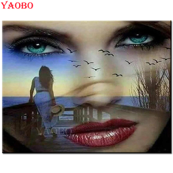 Diy Diamond Painting Fantsay woman face Diamond Embroidery Full square round drilling 5d Diamond Mosaic kits sea landscape image