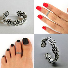 Silver Adjustable Foot Open Toe Rings Daisy Flower Toe Knuckle Band Mid Finger Tip Ring for Girls Lady Set Beach Jewelry(China)