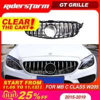 Dla W205 GT AMG GTR kratka przednia, z GT R Grill dla Mercedes Benz W205 c200 c250 c300 2015 + kratka 2019 + 2019 przednia kratka wlotu powietrza