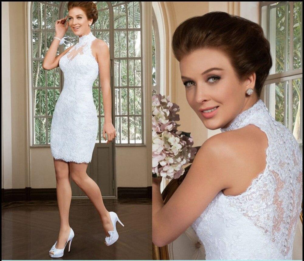 Bridal Gown Evening Party Vestido De Noiva Vintage Curto 2018 High Neck Knee-length White Short Lace Mother Of The Bride Dresses