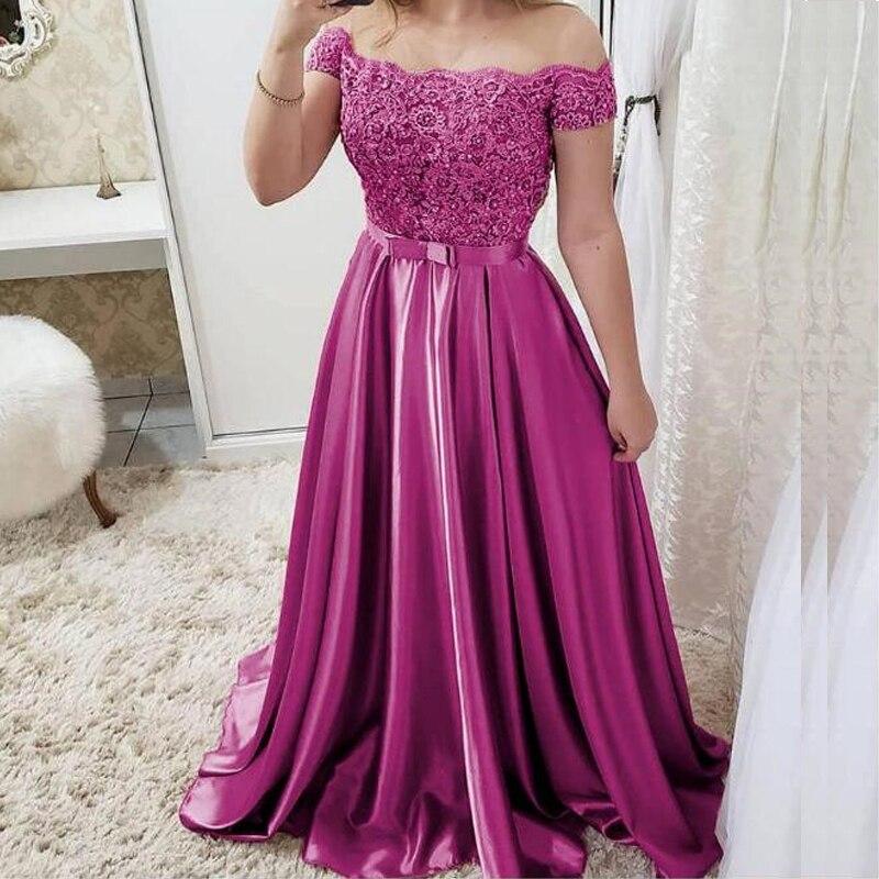 Pretty Evening Dresses Long Satin A-Line Off The Shoulder Floor Length Formal Gowns Lace Evening Dress Vestido de festa