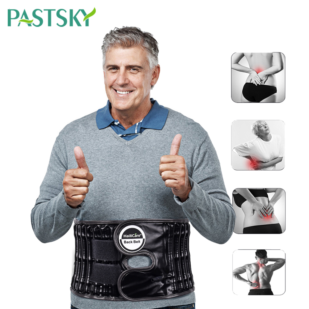 Upgraded PU Inflatable Traction Decompression Belt Waist Back Support Pain Relief Double Effect Therapy Low Lumbar Spine Brace