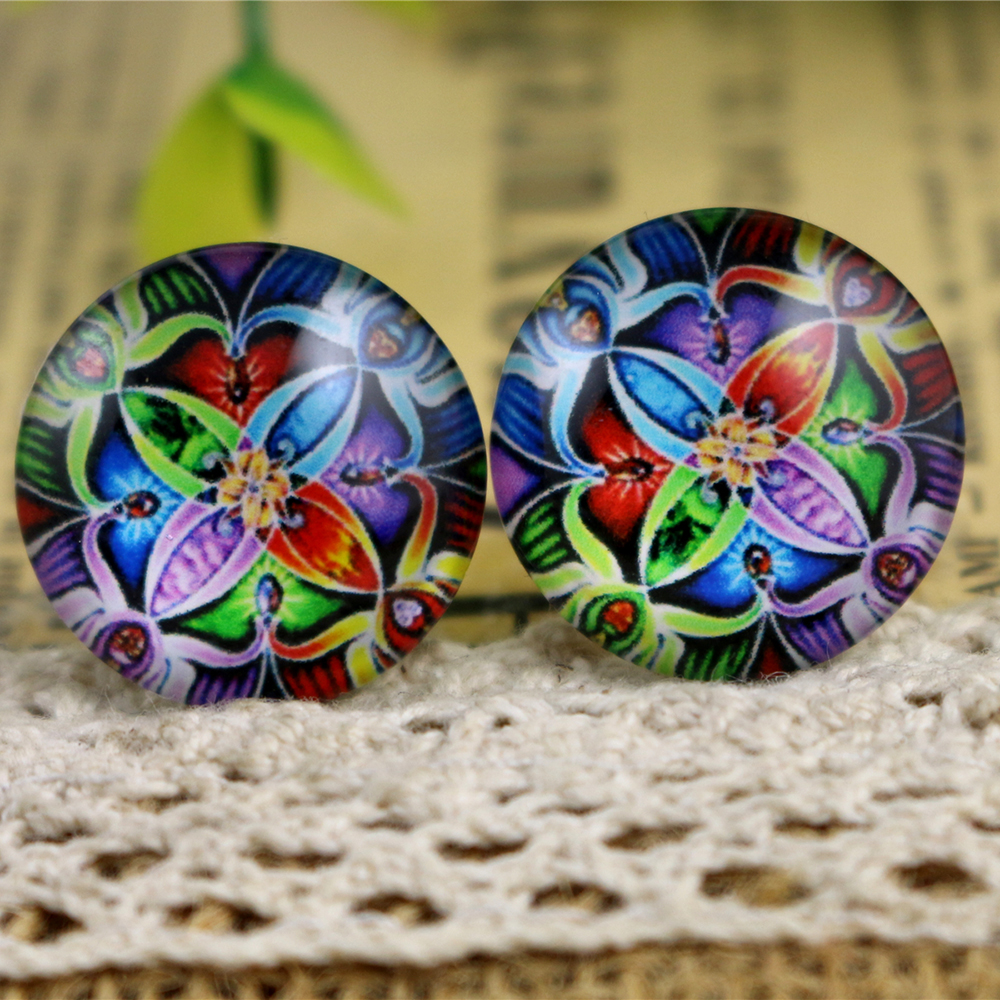 Hot Sale 10pcs 20mm Handmade Flower Photo Glass Cabochons Pattern Domed Jewelry Accessories Supplies-H3-27