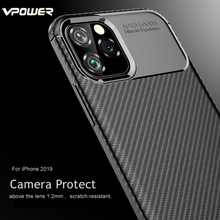 For iPhone XI 5.8 2019 Case Vpower Carbon Fiber Soft Silicone Phone Cases 11 6.1 6.5 inch Cover Back Fundas