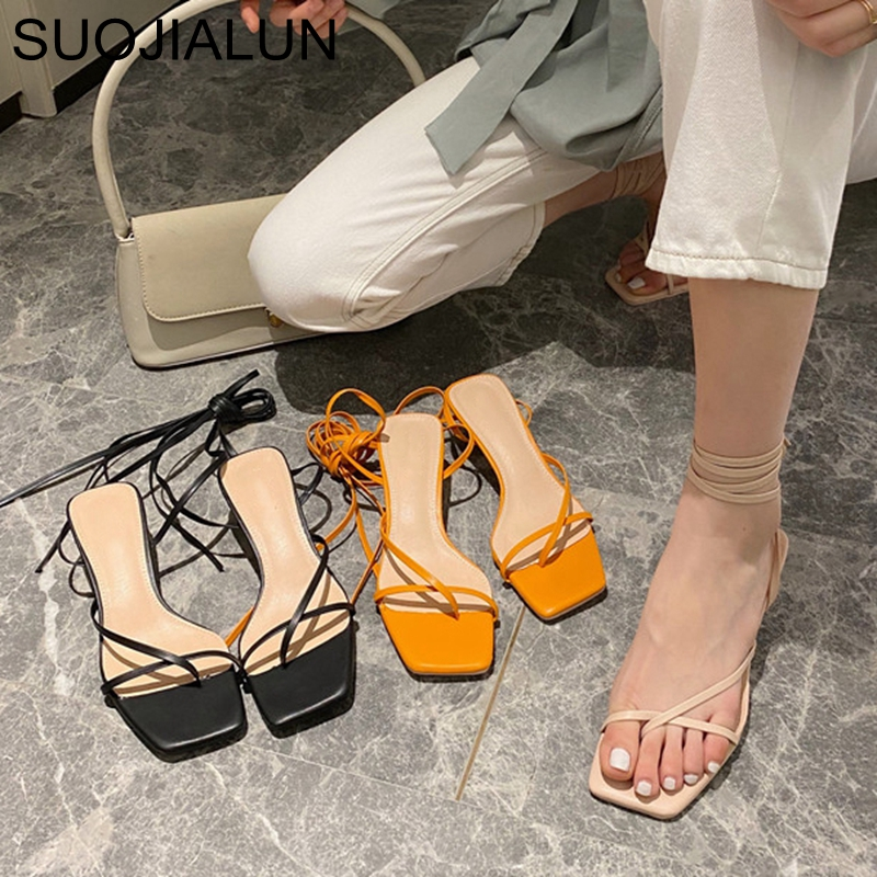 SUOJIALUN New Fashion Women Sandals Low Thin Heel Lace Up Gladiator Sandal Summer Outdoor Strap Slides Narrow Band Zapatos Mujer